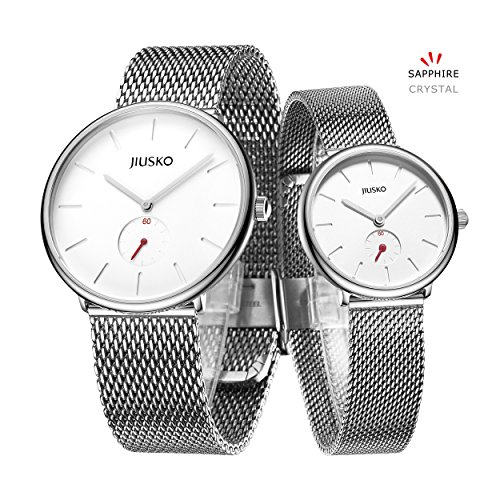 Jiusko Sapphire - His Her Slim Quartz Wrist Watch - Steel Mesh - 393 (Couple - Silver) by JIUSKO