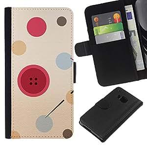 [Neutron-Star] Modelo colorido cuero de la carpeta del tirón del caso cubierta piel Holster Funda protecció Para HTC One M7 [Botón del diseñador de moda rojo]