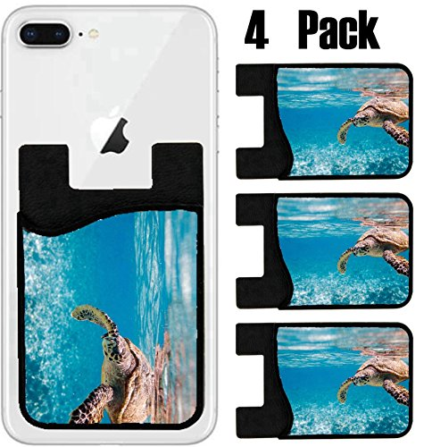 (MSD Phone Card holder, sleeve/wallet for iPhone Samsung Android and all smartphones with removable microfiber screen cleaner Silicone card Caddy(4 Pack) IMAGE ID: 8592817 Hawksbill sea turtle swimming)