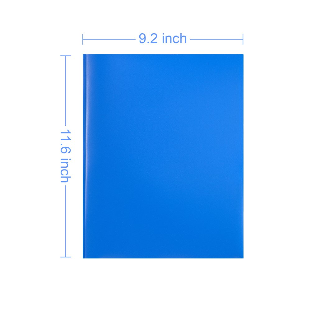 COMIX 2 Pocket Letter Size Poly File Portfolio Folder with Three-Prong Fastners - 12 Pieces (Blue) A2139BU by Comix (Image #2)