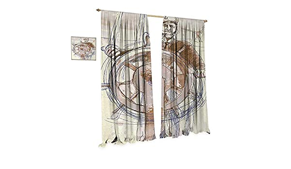 Anniutwo Cortina de Ventana con patrón náutico para Puerta de Cristal, Vela, Barco en el Cielo, bajo el Arco Iris, Surreal, Sol, Felicidad, diseño gráfico e Impermeable: Amazon.es: Hogar