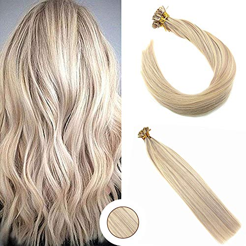 Ugeat 16inch Flat Tip Fusion Hair Extensions Piano Color Ash Blonde #18 and Color 613 Blonde Highlight Color Keratin Remy Real Human Hair Extensions 50 Strands Per Package