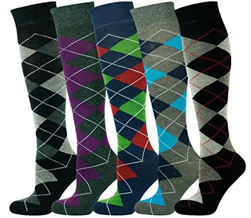 Mysocks Unisex Knee High Argyle Socks Multi Pack 4-7