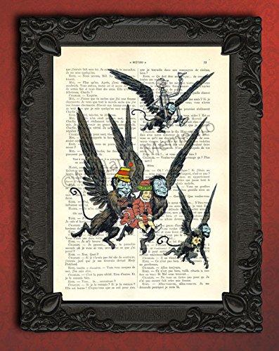 The Wizard of Oz Flying Monkeys illustration art print, childrens book scene poster (Flying Monkeys In Wizard Of Oz)