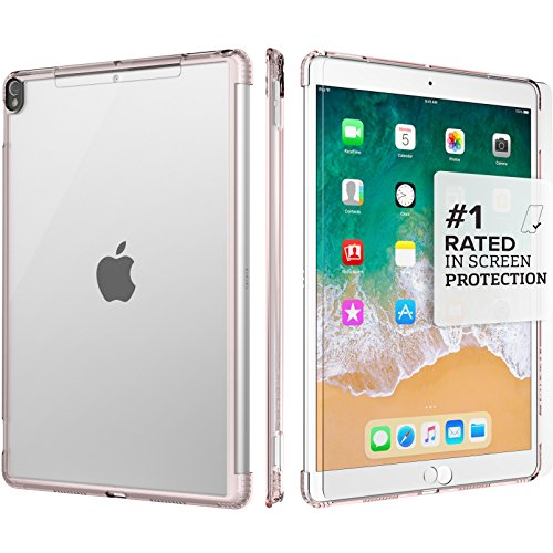 iPad 10.5 Case SaharaCase Protective Kit + [ZeroDamage Tempered Glass Screen Protector] Keyboard Compatible Slim Cover Shock-Absorbing Bumper & Triple Scratch-Resistant Hard Back - Clear Rose Gold from Sahara Case