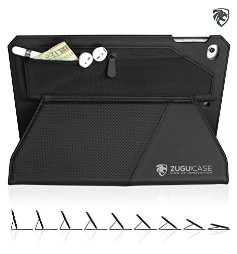 Bossel ZUGU CASE - iPad Pro 9.7 inch (2016) Case Genius X - with Wallet & Zipper Pouch - Fully Adjustable Stand + Sleep/Wake Cover (Black) (Back of iPad Model #'s A1673, A1674, A1675) price tips cheap