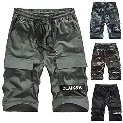 Cianjue_Dress Men Summer Short Casual Drawstring Zipper Pockets Elastic Waist Camouflage Camo Cargo Short from Cianjue
