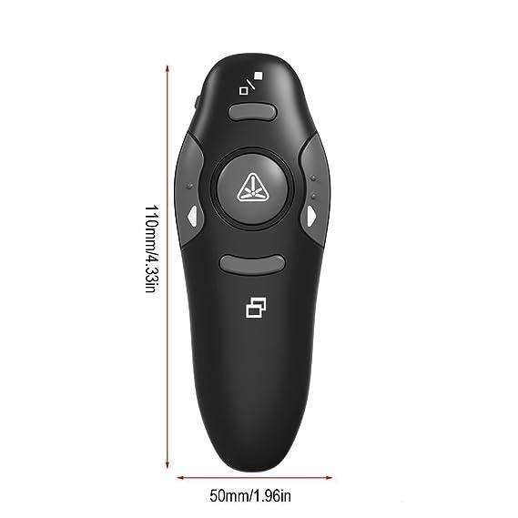 Elepawl Puntero para Presentaciones 2.4 GHz Inalámbrico USB PowerPoint PPT Presentador Control Remoto con Puntero Láser Rojo para la Enseñanza ...