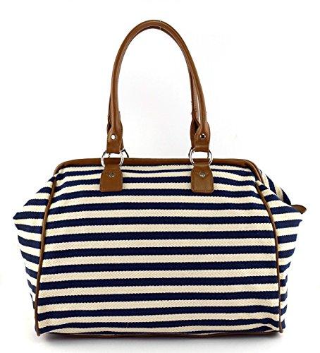 Classic Nautical Stripe 17'' Framed Duffel Bag Carry On Shoulder Tote Handbag by Tara's Travelers (Image #1)