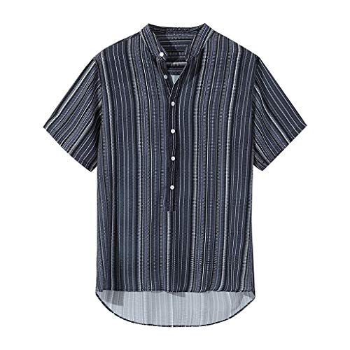 FEDULK Mens Summer Casual T-Shirts Striped Print Buttons Breathable Short Sleeve Henley Shirts Tees(Purple, XX-Large)