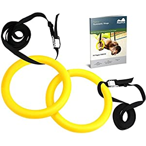 REEHUT Gymnastic Rings with Adjustable Straps, Metal Buckles & Ebook - Home Gym (Set of 2) - Non-Slip - Great for Workout, Strength Training, Fitness, Pull Ups and Dips, Ebook Included
