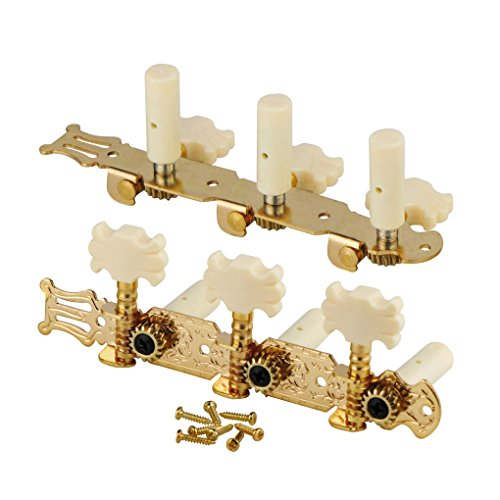 FLEOR 3 on A Plate 2 Row Guitar Tuning keys Acoustic Folk Guitar Machine Heads Tuners Set,Golden Color by FLEOR (Image #2)