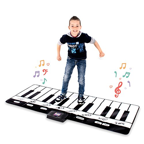 Abco Tech Giant Musical Piano Play Mat – Jumbo Sized Floor Keyboard Piano Activity Mat with Play, Record, Playback & Demo Modes – 8 Different Musical Instruments Sound Options – 24 Keys ()