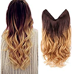 "HairPhocas 20"" Brown to Golden Blond Ombre Color Secret Hair Extensions Synthetic Curly Wave Hairpieces"
