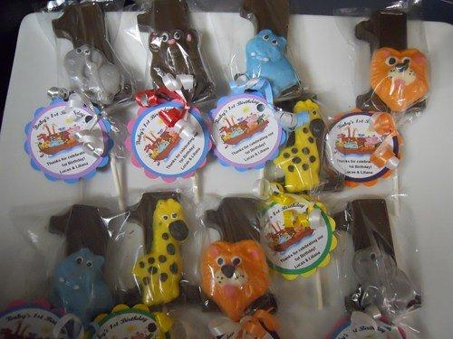 12 funfari Birthday Favors Safari Animal 1st First Birthday Safari Animal 1st Birthday Gourmet Chocolate Lollipops Party Favor