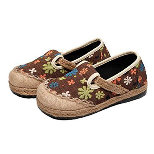 Flowers Womens Casual Loafers Oxford Exotic Round Flat Linen Moccasin Dress Brown Toe GIY Shoes Slip on vH7Rxvd