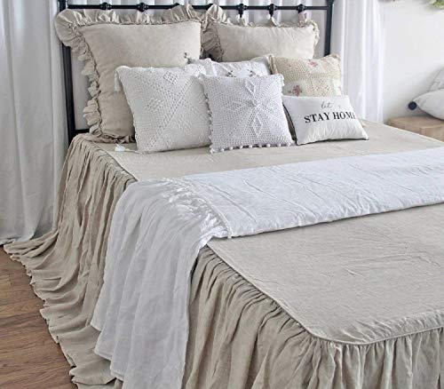 Queen's House Natural Linen Bedspread French Country Coverlets Flax Fiber Bed Spreads 30 Drop Split Corners-King