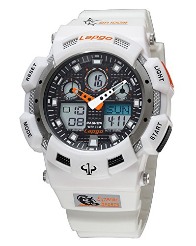 Case Resin Dive Watch (Synchronize Digital Sports Watch 100M Waterproof Dive Dual Time Resin Men's Large Oversize Bold Clock (White))
