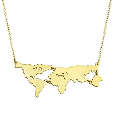 Amazon 2017 world map charm pendant necklace 18k gold plated 2017 world map charm pendant necklace 18k gold plated sterling silver 18quot gumiabroncs Image collections