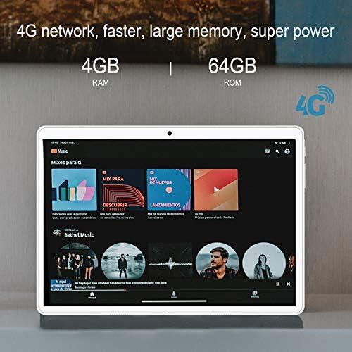 Tablet 10 inch, Android 9.0 Pie Tablets PC 4GB RAM 64GB ROM, Quad Core Processor, IPS HD 10″ Display, 8MP Dual Camera, Dual 4G SIM, 8000mAh Battery, WiFi, Google GMS Certified – Gold 51F6gqk87ZL