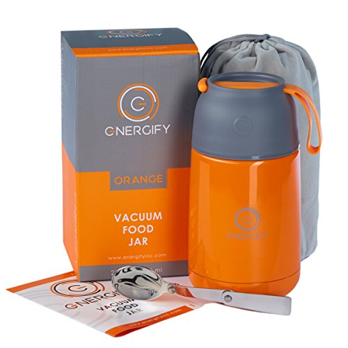 Energify Vacuum Insulated Stainless Steel Food Jar – for Hot/Cold Food, Food-Grade – Ideal as Adults or Kids Thermos Food Jar or Soup Thermos – with Foldable Spoon and Bag (22 Ounce, Orange)