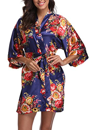 Laurel Snow Floral Satin Kimono Robes for Women Short Bridesmaid and Bride Robe for Wedding Party,Navy Blue L