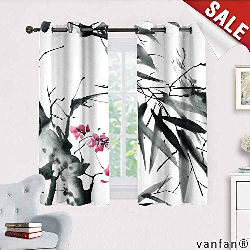 LQQBSTORAGE Japanese,100% Blackout Curtains,Natural Sacred Bamboo Stems Cherry Blossom Japanese Inspired Folk Print,for Bedroom,Dark Green Fuchsia