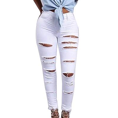 Agujeros Lápiz De Mezclilla Agujeros Agujeros De Pantalones Mezclilla De Un Solo Pecho Años 20 Ripped Slim Fit Botones Jean Rotos: Ropa y accesorios