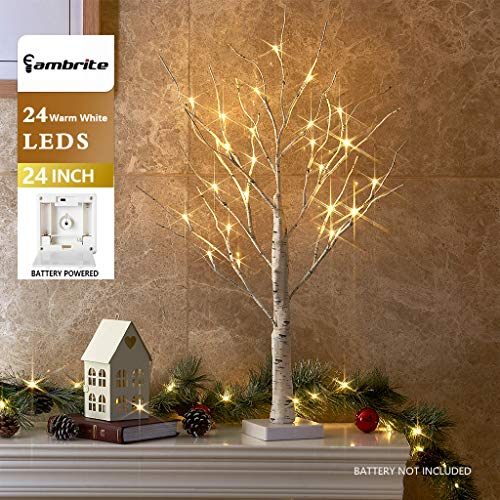 EAMBRITE 2FT 24LT Warm White LED Battery Operated Birch Tree Light Tabletop Tree Light Jewelry Holder Decor for Home Party Wedding (Trees Decor)