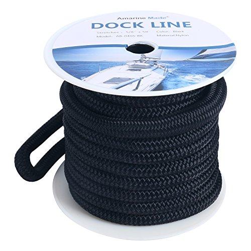 Amarine Made 5/8 Inch 50 FT Double Braid Nylon Dockline Dock Line Mooring Rope Double Braided Dock Line (Black)
