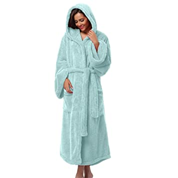 Tina Mujeres con Capucha Gruesas Togas Suave Coral Polar Cálido Albornoz Largo Felpa Kimono Ropa de