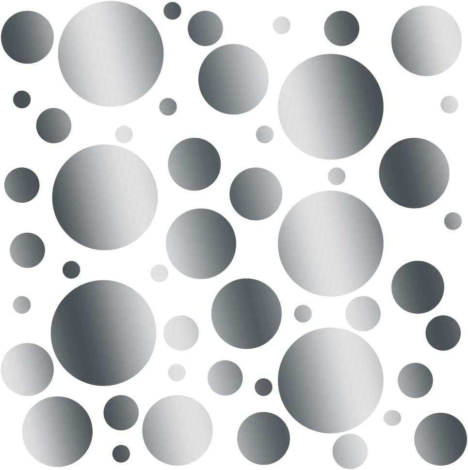 Set of 100 (Silver Metallic) Vinyl Wall Decals - Assorted Polka Dots Stickers - Removable Adhesive Safe on Smooth or Textured Walls - Round Circles - for Nursery, Kids Room, Bathroom Decor