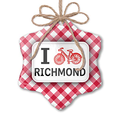 NEONBLOND Christmas Ornament I Love Cycling City Richmond Red Plaid