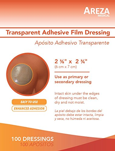 Transparent Adhesive Film Dressing Waterproof 2'' 3/8'' X 2'' 3/4'' (6 cm X 7 cm) 100 per Box Super Easy Application by Areza Medical