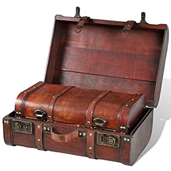 Festnight Vintage Wooden Treasure Chest Brown 2 PCS