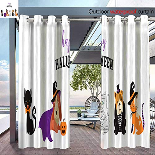 Outdoor- Free Standing Outdoor Privacy Curtain Happy Halloween cats and dogs in monsters costumes Halloween party Vector illust for Front Porch Covered Patio Gazebo Dock Beach Home W96