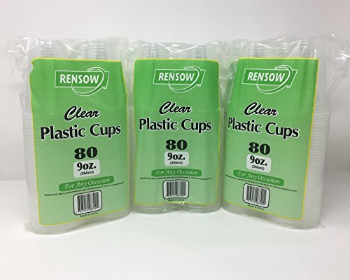 Price comparison product image Rensow 9 Ounce Disposable Plastic Cups 400 Count Pack (5 x 80 Pack)