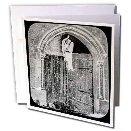 Gate Victorian (Scenes from the Past Magic Lantern - Victorian Tale The Gates of Heaven No. 6 Vintage 1890 Angel - 1 Greeting Card with envelope (gc_246180_5))