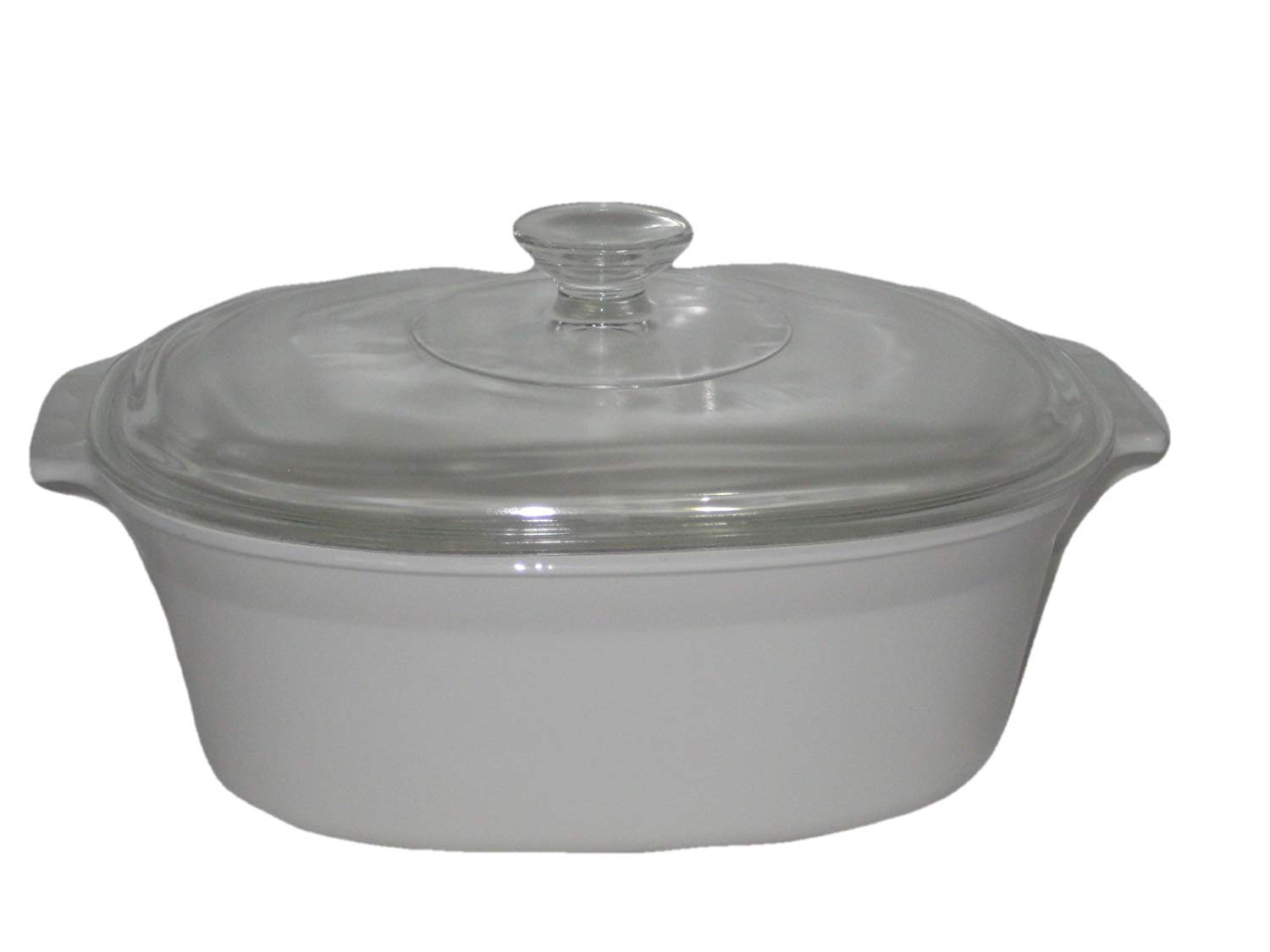 Vintage Corning White Oval 2 1/2 Quart Casserole Dutch Oven Baking Dish w/ Clear Lid USA