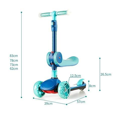 IG Patinete plegable para niños con ruedas de asiento y ...