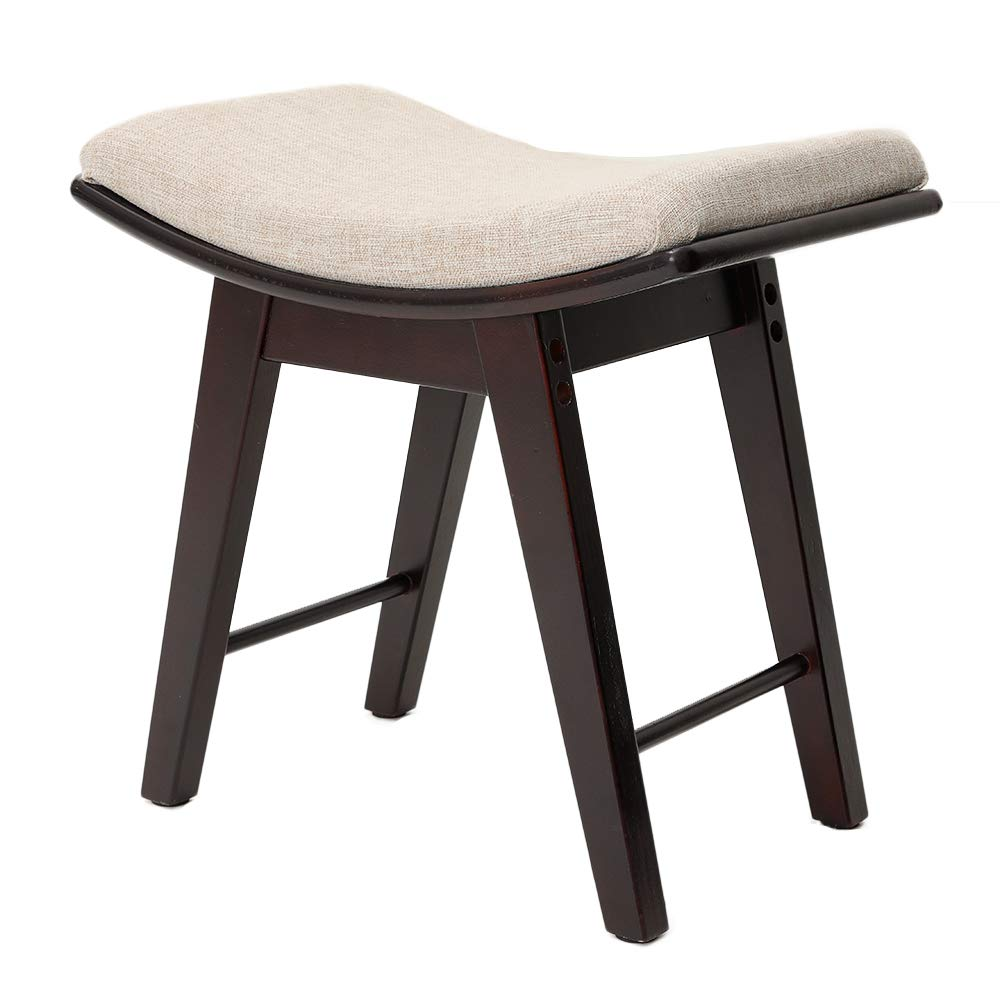IWELL Vanity Stool with Rubberwood Legs, Makeup Bench Dressing Stool, Padded Cushioned Chair, Capacity 286lb, Piano Seat Brown SZD001Z
