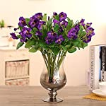 JAROWN-5-pcs-Artificial-Pansy-Orchid-Silk-Flowers-Arrangement-for-Home-Office-Wedding-DecorationPurple