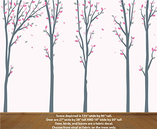 Vinyl Little Girl - Pink Gray Tree Decal for Little Girls, Vinyl Tree, Wall Art