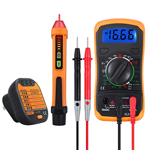Neoteck Electrical Test Kit, Mini Digital Multimeter + Receptacle Outlet Tester + Non-Contact 12-1000V AC Voltage Detector Pen- Great Packs! ()