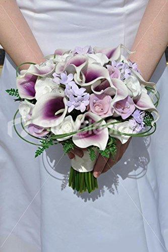 White & Purple Vermeer Lily, Rose & Stephanotis Bridal Bouquet
