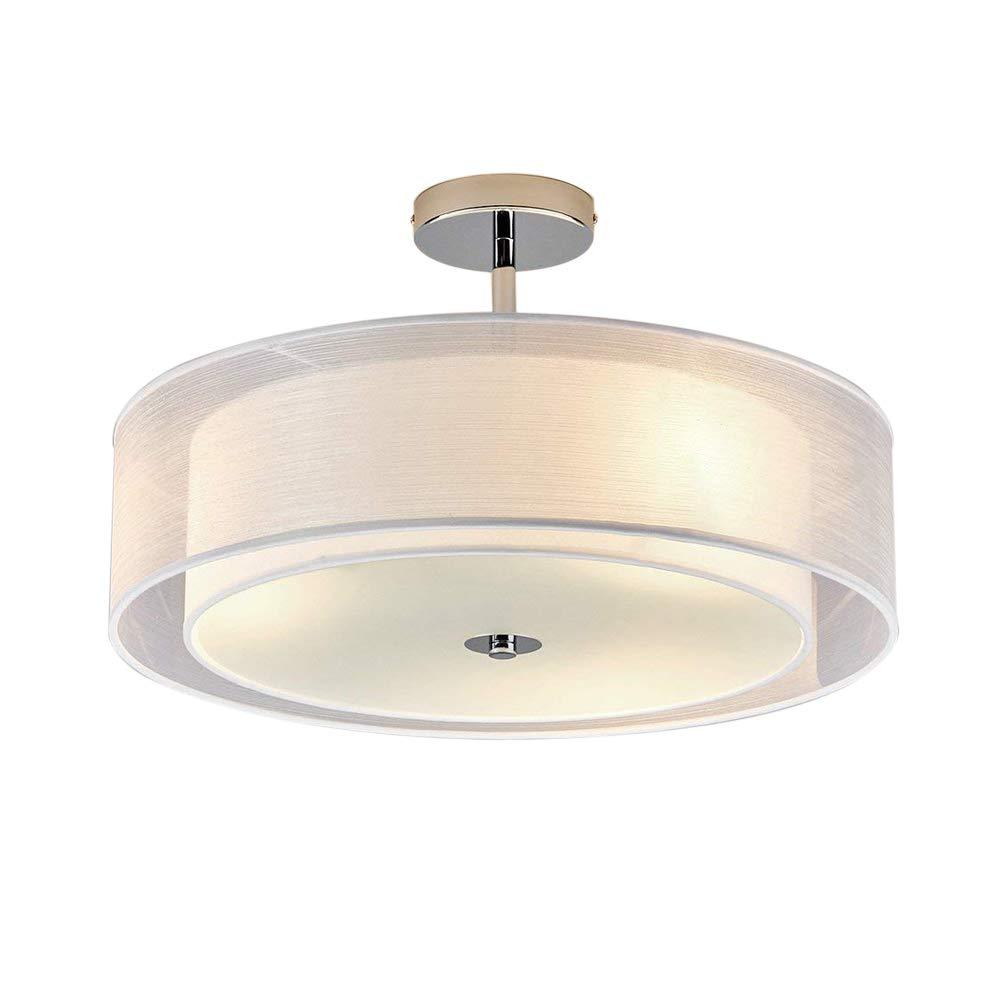 LED Deckenleuchte Modern Runde Design Deckenlampe Wohnzimmer Esszimmer Schlafzimmer Küche Flur Lampe Beleuchtung Leuchte Weiß Textil Lampenschirm Acryl Panel Chrom D50cm Warmweiß (3000K) 3 * 7W