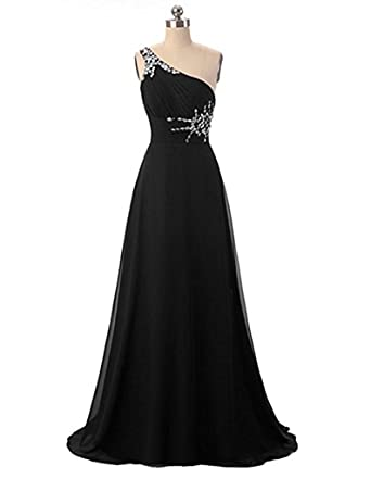 Victoria Prom One Shoulder Ombre Long Evening Prom Dresses Chiffon Wedding Party Gowns Black us2