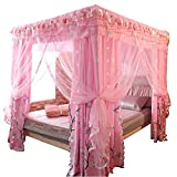 Mosquito net Double Bed on Bedroom Insect-Proof Children's Gauze Princess Wind Floor Hanging Home Summer Decoration Tent, Pink, 2.0M