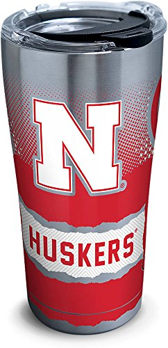 Tervis 1277168 Nebraska Cornhuskers Knockout Stainless Steel Tumbler with Clear and Black Hammer Lid 20oz, Silver (Nebraska Cornhuskers Tumbler)