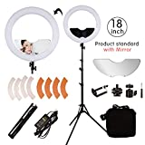 BYWLWLMY 18 Inch 240 Led Ring Light with Stand and Mirror for Makeup Lights,Video Shooting,Product life Shooting,Live Beauty Lights